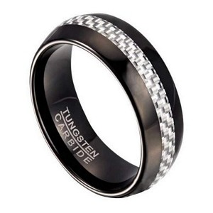 Black Tungsten Men S Ring With White Carbon Fiber Inlay