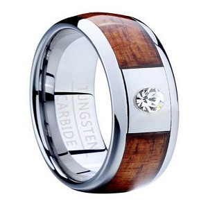 Men's Tungsten Ring with Koa Wood Inlay and Single CZ