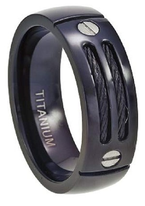 Black Titanium Cable Ring with Screw Accent - JT0131