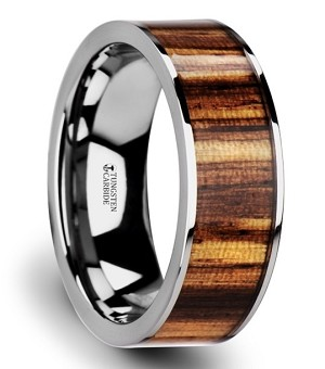 Men's Copan Flat Tungsten Carbide Ring with Polished Edges & Real Zebra Wood Inlay
