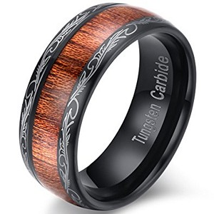 Black Tungsten Koa Wood Ring with Tribal Edge Design | 8mm