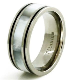 Titanium White Shell Inlay Black Borders Wedding Band Ring