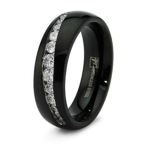 Black Stainless Steel Wedding Band with 12 CZ's