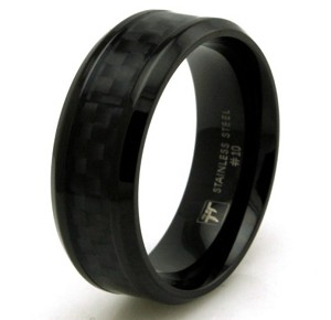 Black Stainless Steel Black Carbon Fiber Inlay Ring
