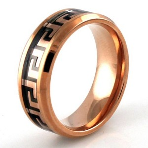 Rose Gold Stainless Steel Greek Pattern Inlay Design Ring